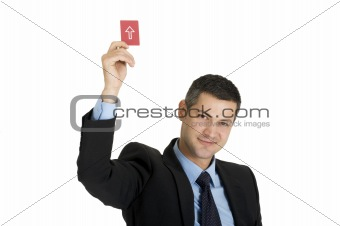 """businessman with a red card"
