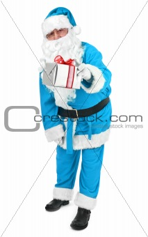 Blue Santa claus gives a present