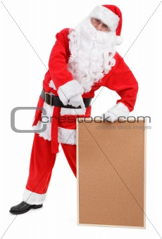 Santa claus shows empty bulletin board