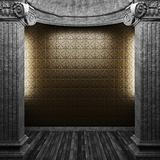 stone columns and wallpaper