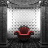 stone columns, chair and wallpaper