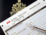 Canada passport on declaration card