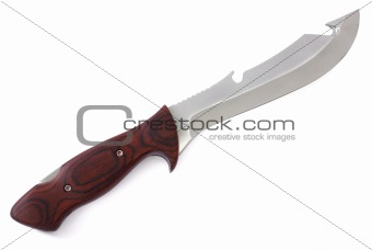 Knife with wood handle and exchangeable blade isolated on white background