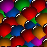 Abstract background with glass multicolor hearts