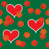 Background with red hearts and orange flowers