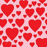 Simple pink background with red hearts