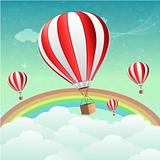 parachutes with rainbow