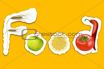 food text with fruits