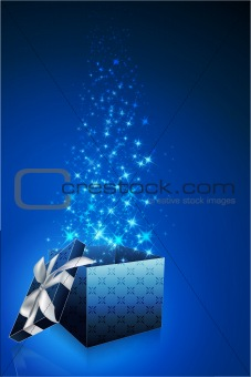 abstract gift card with open box