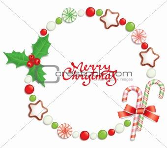 Candy christmas frame