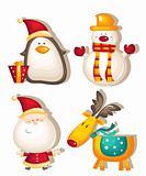 santa claus snowman rudolf penguin