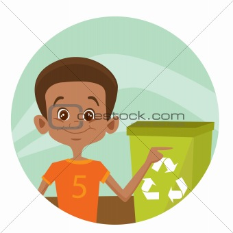 Kid using recycling bin