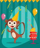Dancing monkey birthday card