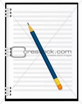 A notebook with a pencil