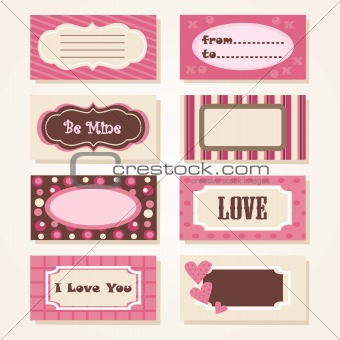 A set of colorful Valentine tags