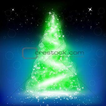 Abstract christmas tree on black background.