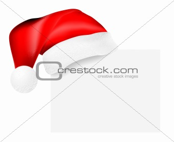 Santa's cap hanging on a blank card