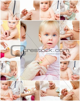 Little girl gets an injection