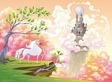 Unicorn and mythological landscape