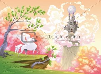 Pegasus and mythological landscape.