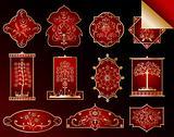 Set illustration of red framed label. Vector