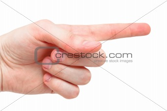 "Arm making ""index"" sign, isolated on white background"