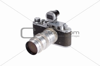 old vintage rangefinder camera with additional viewfinder