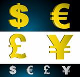 Money currency symbols.