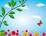 Flowers, butterflies and clouds