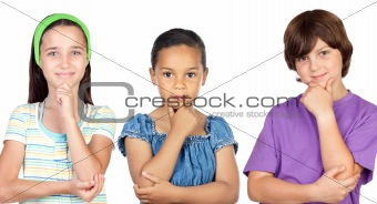 Three pensive children