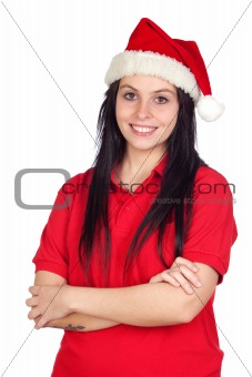 Beautiful girl with Christmas hat