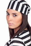 Attractive woman dressed in prisoner