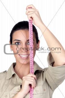Beautiful girl with tape measure