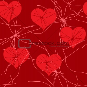 Abstract red grunge background with hearts