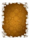 Gold frame with gold snowflakes. EPS 8