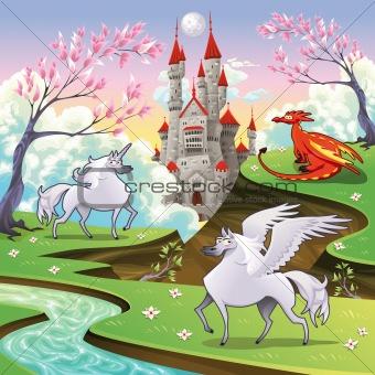 Pegasus, unicorn and dragon in a mythological landscape