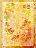 Abstract background, watercolor: leafs