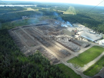 sawmill aerial view in quebec