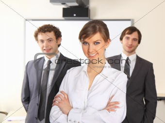 Business woman and her team