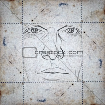 face on stained paper