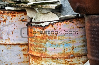 rusty metal barrels
