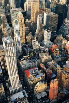 Manhattan skyscrapers aerial view