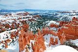 Bryce Canyon with snow in winter.