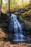 Autumn Waterfall in mountain.