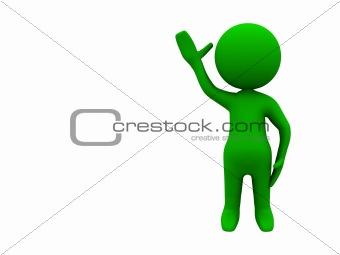character waving