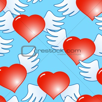 Background of red hearts with wings