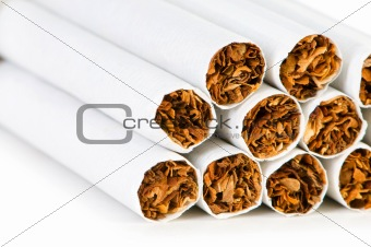Smoking cigarettes isolated on the white background