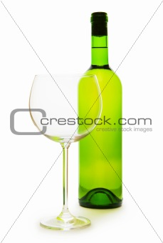 Wine and glass isolated on the white background