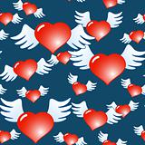 Dark blue abstract background of red hearts