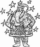 Santa Claus within stars black and white